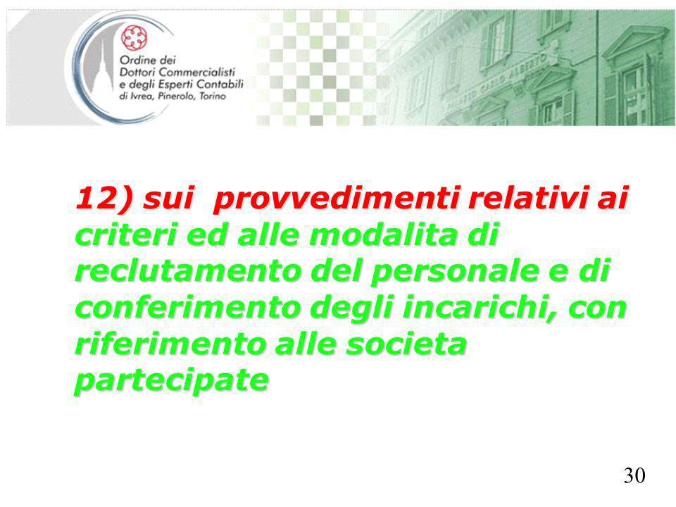 SEGRETERIA PROVINCIALE - TORINO 12) sui provvedimenti relativi ai criteri ed alle modalita di reclutamento del personale e di conferimento degli incarichi, con riferimento alle societa partecipate 30