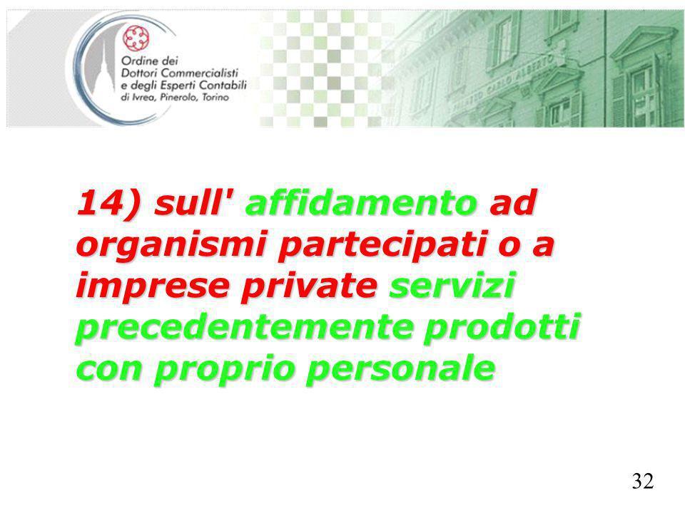 SEGRETERIA PROVINCIALE - TORINO 14) sull' affidamento ad organismi partecipati o a imprese private servizi precedentemente prodotti con proprio person