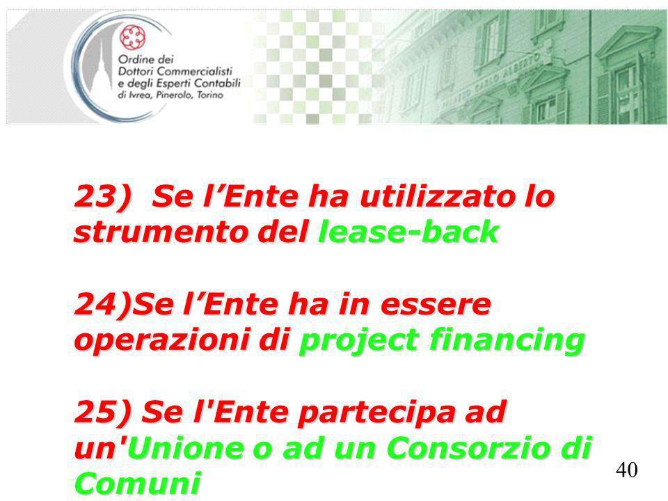 SEGRETERIA PROVINCIALE - TORINO 23) Se lEnte ha utilizzato lo strumento del lease-back 24)Se lEnte ha in essere operazioni di project financing 25) Se