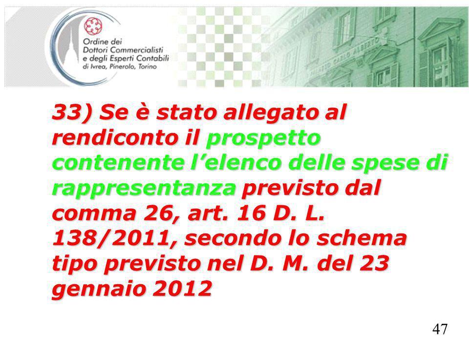 SEGRETERIA PROVINCIALE - TORINO 33) Se è stato allegato al rendiconto il prospetto contenente lelenco delle spese di rappresentanza previsto dal comma 26, art.
