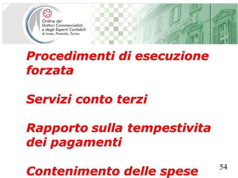 SEGRETERIA PROVINCIALE - TORINO Procedimenti di esecuzione forzata Servizi conto terzi Rapporto sulla tempestivita dei pagamenti Contenimento delle sp