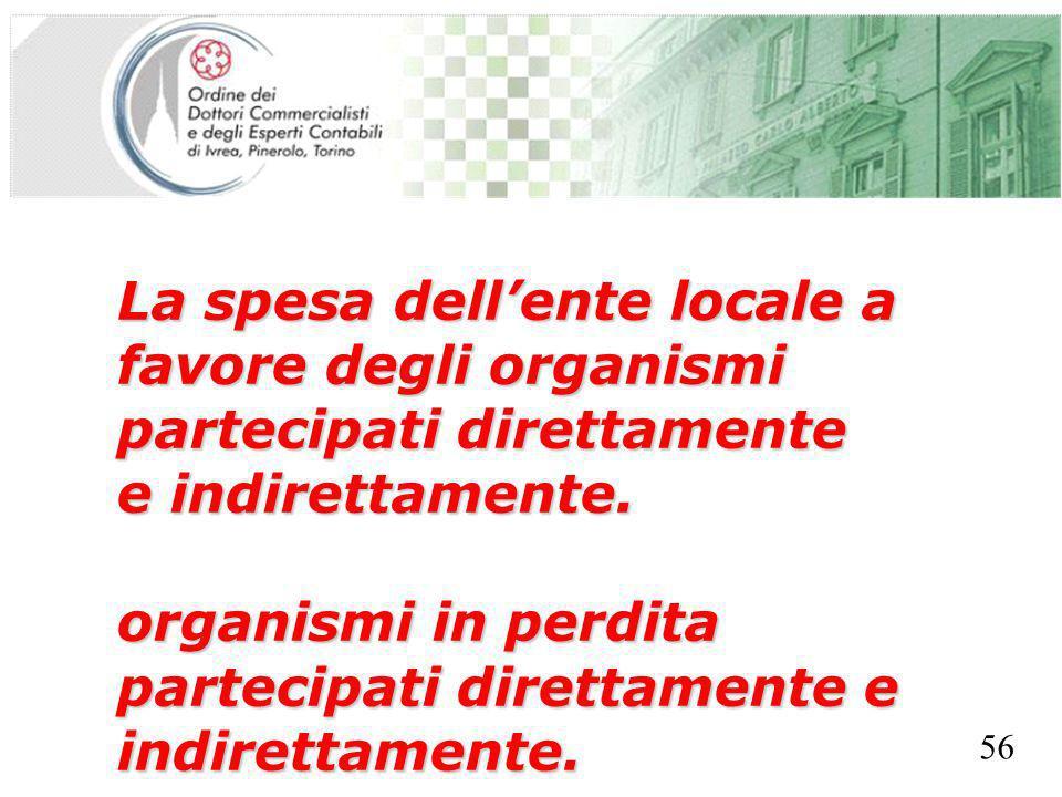 SEGRETERIA PROVINCIALE - TORINO La spesa dellente locale a favore degli organismi partecipati direttamente e indirettamente. organismi in perdita part