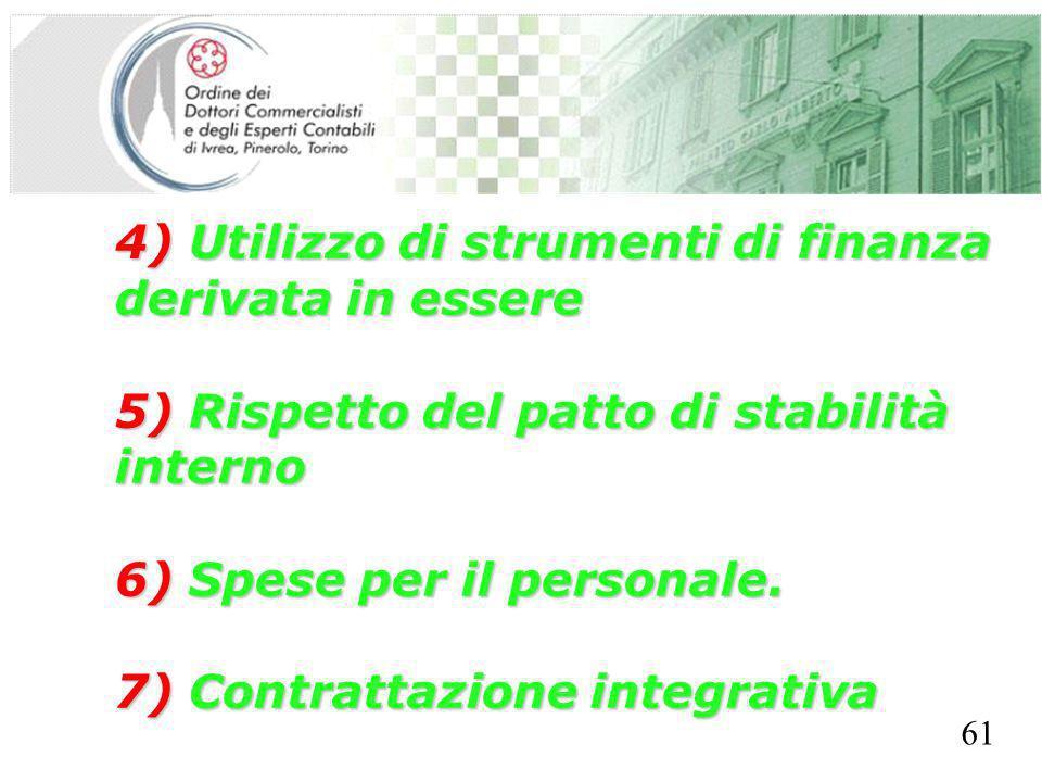 SEGRETERIA PROVINCIALE - TORINO 4) Utilizzo di strumenti di finanza derivata in essere 5) Rispetto del patto di stabilità interno 6) Spese per il personale.