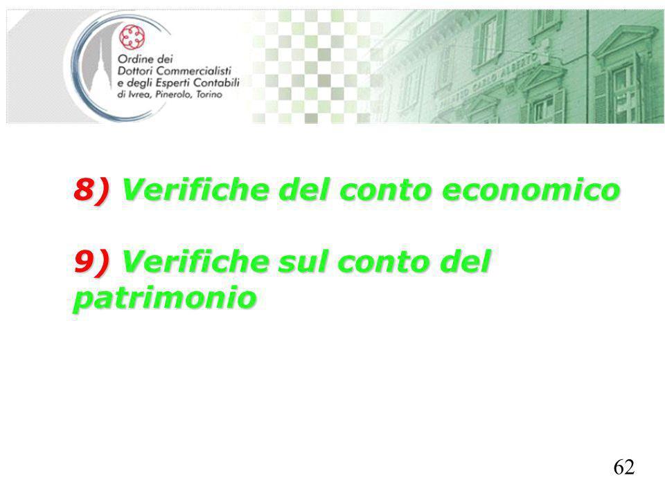 SEGRETERIA PROVINCIALE - TORINO 8) Verifiche del conto economico 9) Verifiche sul conto del patrimonio 62