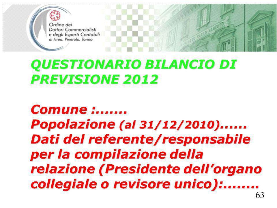 SEGRETERIA PROVINCIALE - TORINO QUESTIONARIO BILANCIO DI PREVISIONE 2012 Comune :....... Popolazione (al 31/12/2010)...... Dati del referente/responsa