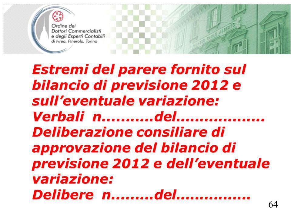 SEGRETERIA PROVINCIALE - TORINO Estremi del parere fornito sul bilancio di previsione 2012 e sulleventuale variazione: Verbali n...........del...................