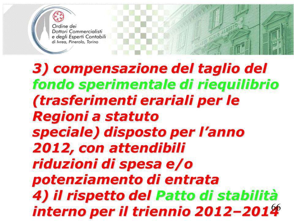 SEGRETERIA PROVINCIALE - TORINO 3) compensazione del taglio del fondo sperimentale di riequilibrio (trasferimenti erariali per le Regioni a statuto speciale) disposto per lanno 2012, con attendibili riduzioni di spesa e/o potenziamento di entrata 4) il rispetto del Patto di stabilità interno per il triennio 2012–2014 66