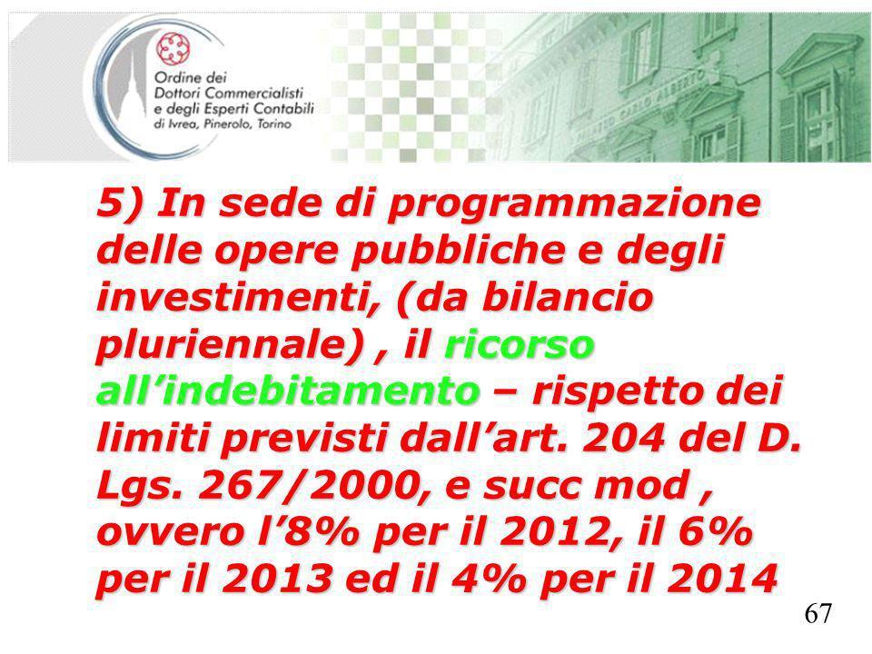SEGRETERIA PROVINCIALE - TORINO 5) In sede di programmazione delle opere pubbliche e degli investimenti, (da bilancio pluriennale), il ricorso allindebitamento – rispetto dei limiti previsti dallart.