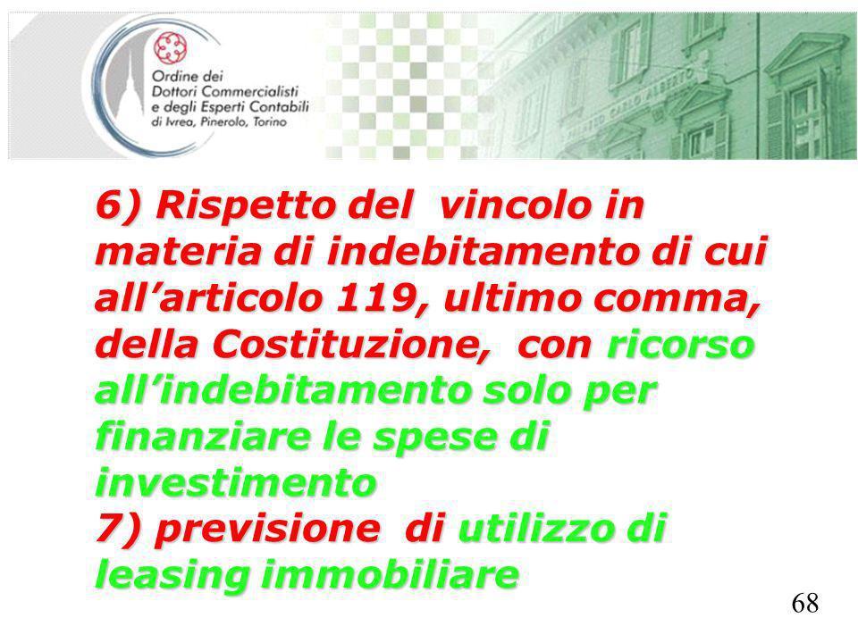 SEGRETERIA PROVINCIALE - TORINO 6) Rispetto del vincolo in materia di indebitamento di cui allarticolo 119, ultimo comma, della Costituzione, con rico