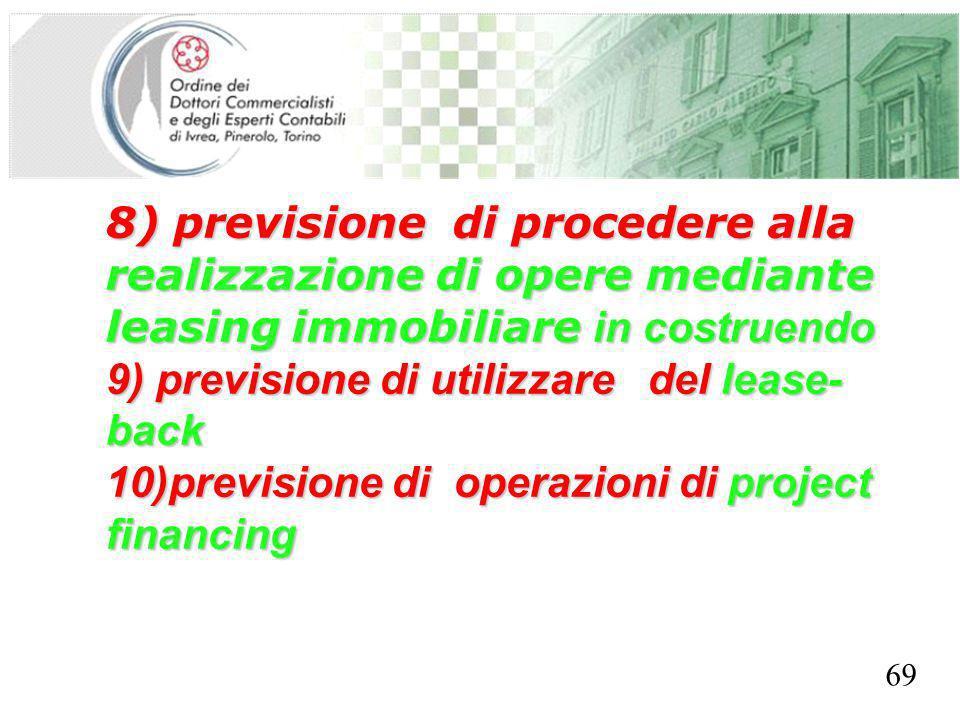 SEGRETERIA PROVINCIALE - TORINO 8) previsione di procedere alla realizzazione di opere mediante leasing immobiliare in costruendo 9) previsione di uti