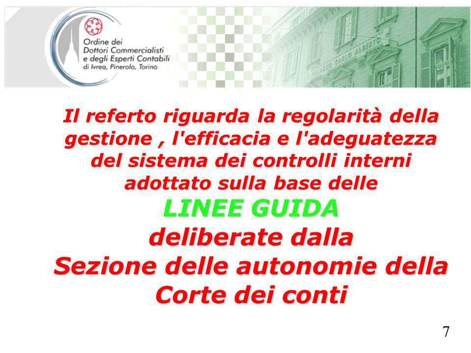 SEGRETERIA PROVINCIALE - TORINO Il referto riguarda la regolarità della gestione, l efficacia e l adeguatezza del sistema dei controlli interni adottato sulla base delle LINEE GUIDA deliberate dalla Sezione delle autonomie della Corte dei conti 7