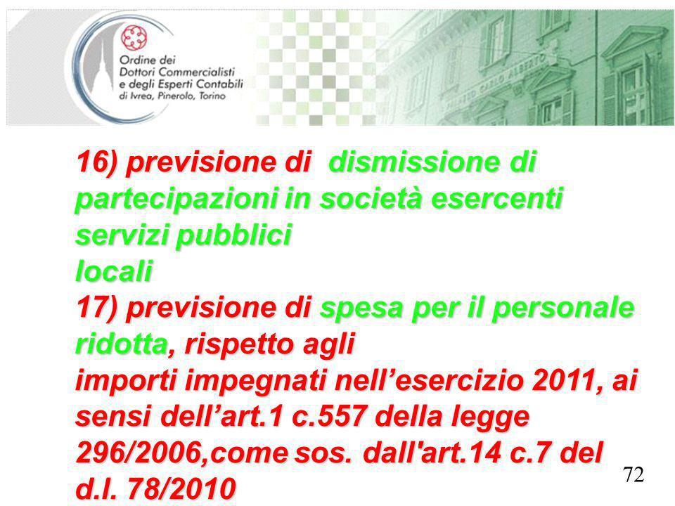 SEGRETERIA PROVINCIALE - TORINO 16) previsione di dismissione di partecipazioni in società esercenti servizi pubblici locali 17) previsione di spesa p