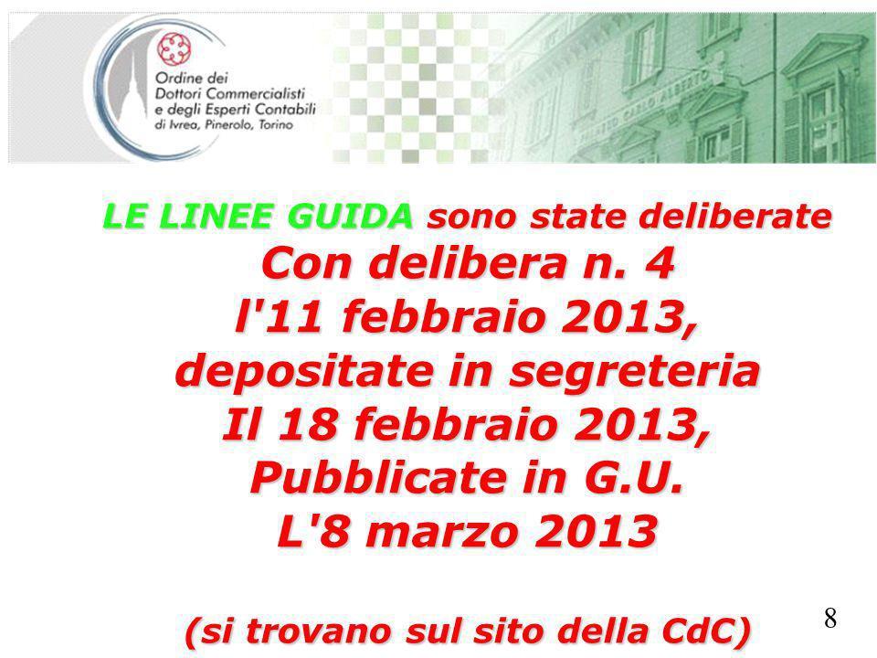 SEGRETERIA PROVINCIALE - TORINO LE LINEE GUIDA sono state deliberate Con delibera n. 4 l'11 febbraio 2013, depositate in segreteria Il 18 febbraio 201