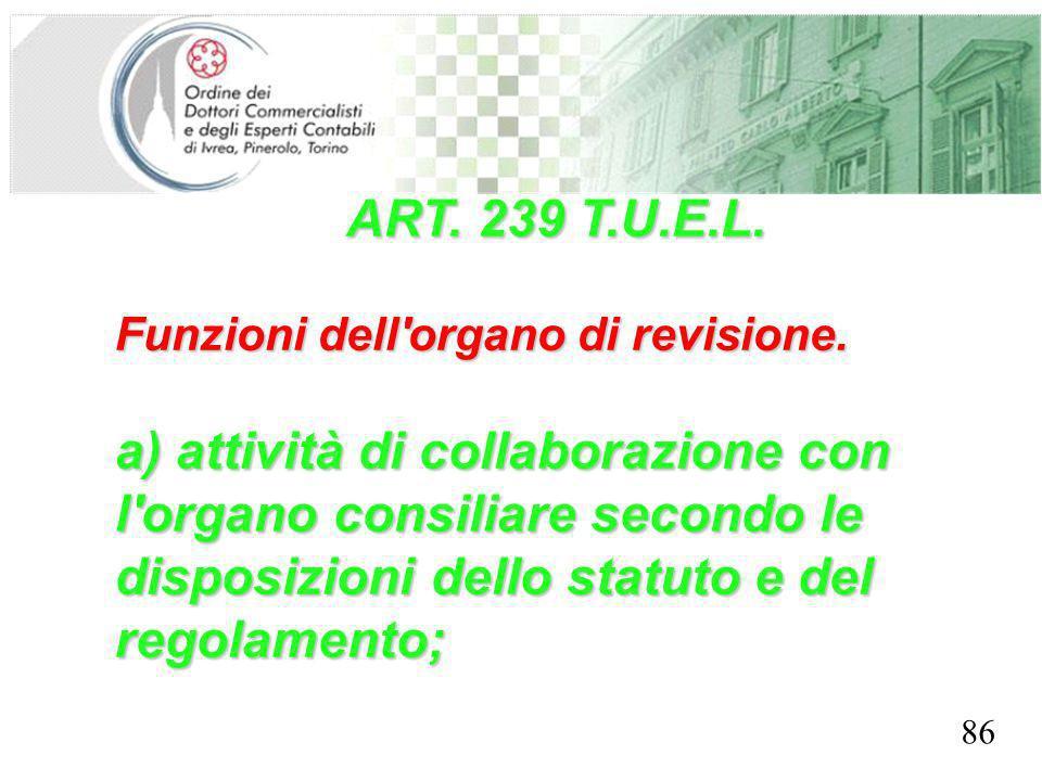 SEGRETERIA PROVINCIALE - TORINO ART. 239 T.U.E.L. Funzioni dell'organo di revisione. a) attività di collaborazione con l'organo consiliare secondo le