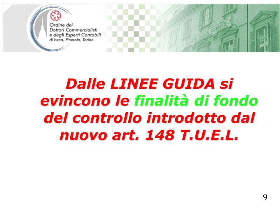 SEGRETERIA PROVINCIALE - TORINO Dalle LINEE GUIDA si evincono le finalità di fondo del controllo introdotto dal nuovo art. 148 T.U.E.L. 9