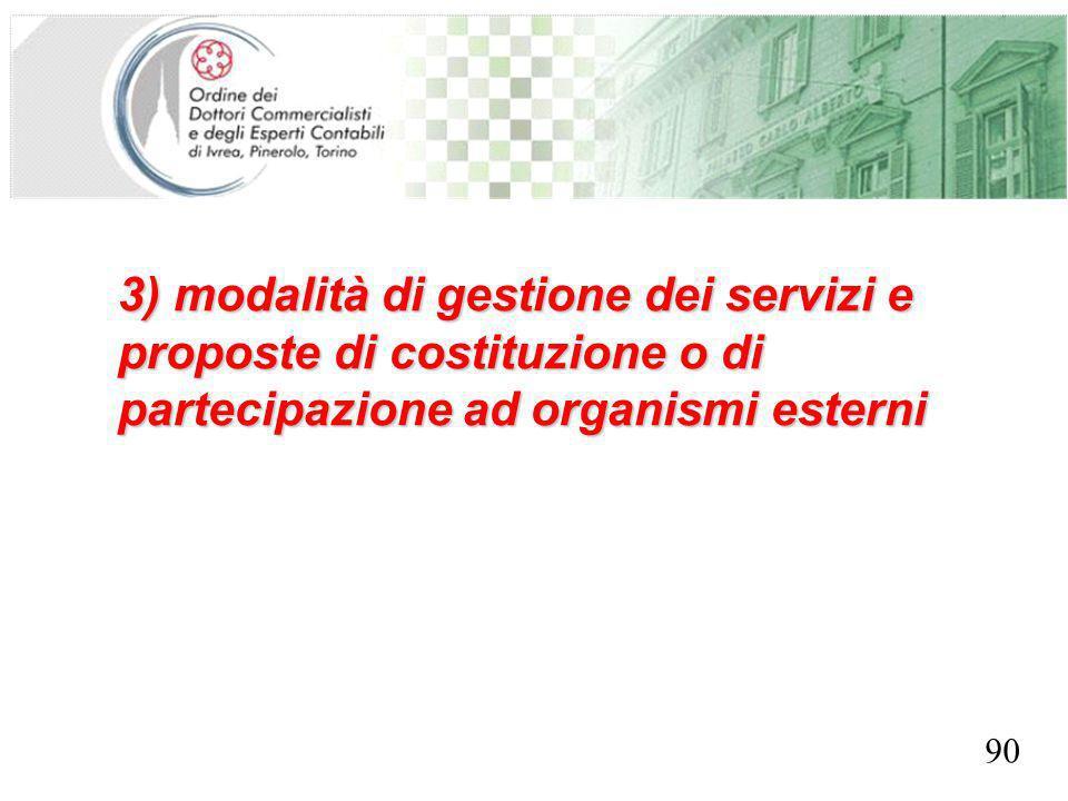 SEGRETERIA PROVINCIALE - TORINO 3) modalità di gestione dei servizi e proposte di costituzione o di partecipazione ad organismi esterni 90