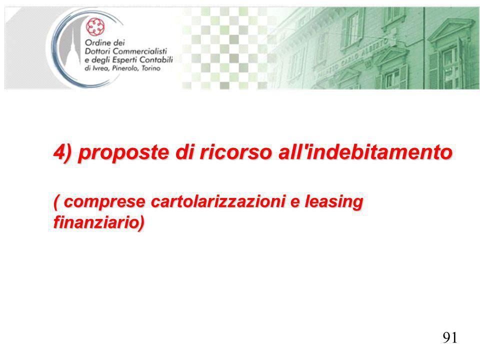 SEGRETERIA PROVINCIALE - TORINO 4) proposte di ricorso all indebitamento ( comprese cartolarizzazioni e leasing finanziario) 91