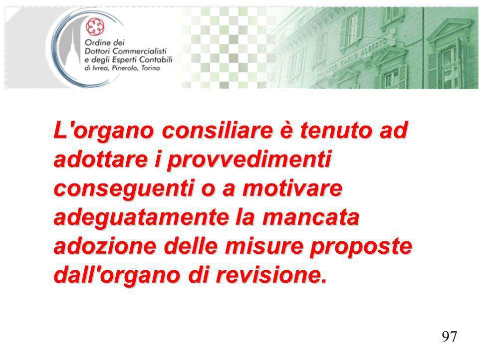 SEGRETERIA PROVINCIALE - TORINO L'organo consiliare è tenuto ad adottare i provvedimenti conseguenti o a motivare adeguatamente la mancata adozione de