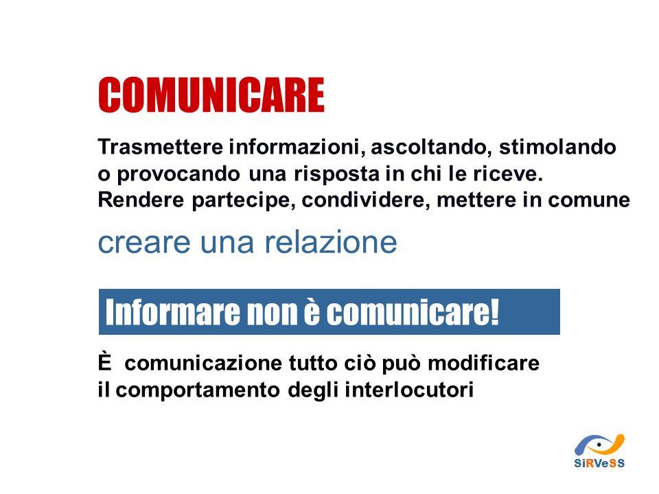 Mettersi in gioco in prima persona Adeguare il messaggio alle caratteristiche di chi ascolta Prestare molta attenzione ai messaggi di ritorno Semplici regole per una comunicazione efficace SiRVeSS