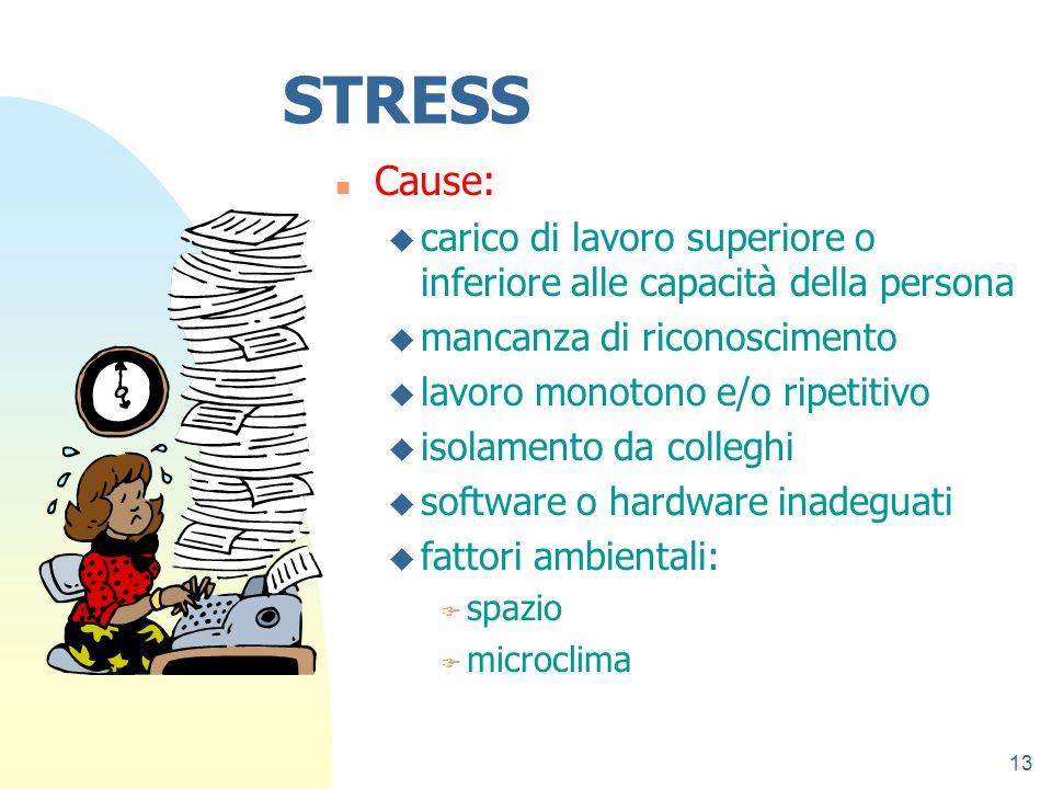 13 STRESS n Cause: u carico di lavoro superiore o inferiore alle capacità della persona u mancanza di riconoscimento u lavoro monotono e/o ripetitivo