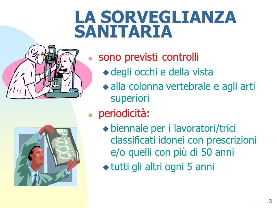 3 LA SORVEGLIANZA SANITARIA n sono previsti controlli u degli occhi e della vista u alla colonna vertebrale e agli arti superiori n periodicità: u bie