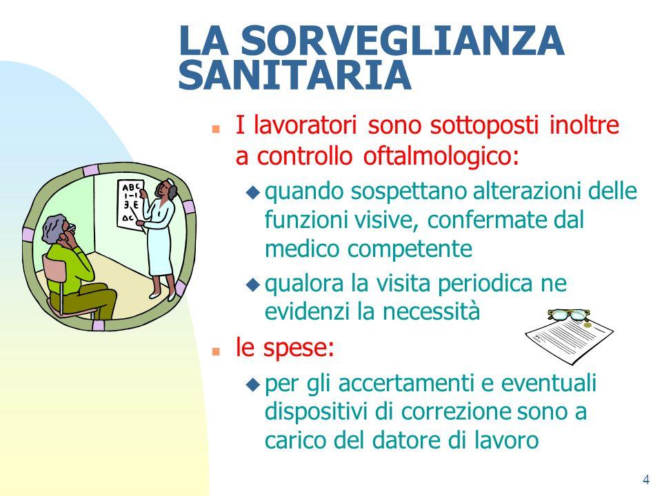 4 LA SORVEGLIANZA SANITARIA n I lavoratori sono sottoposti inoltre a controllo oftalmologico: u quando sospettano alterazioni delle funzioni visive, c