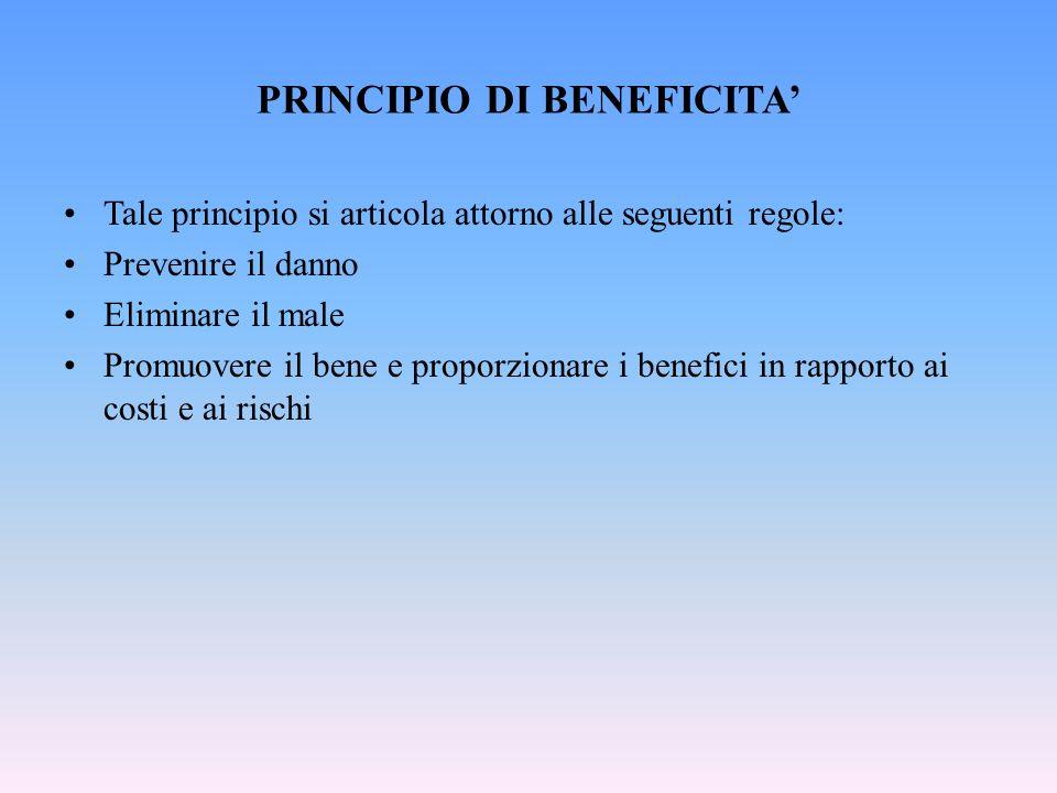 PRINCIPIO DI BENEFICITA Tale principio si articola attorno alle seguenti regole: Prevenire il danno Eliminare il male Promuovere il bene e proporzionare i benefici in rapporto ai costi e ai rischi