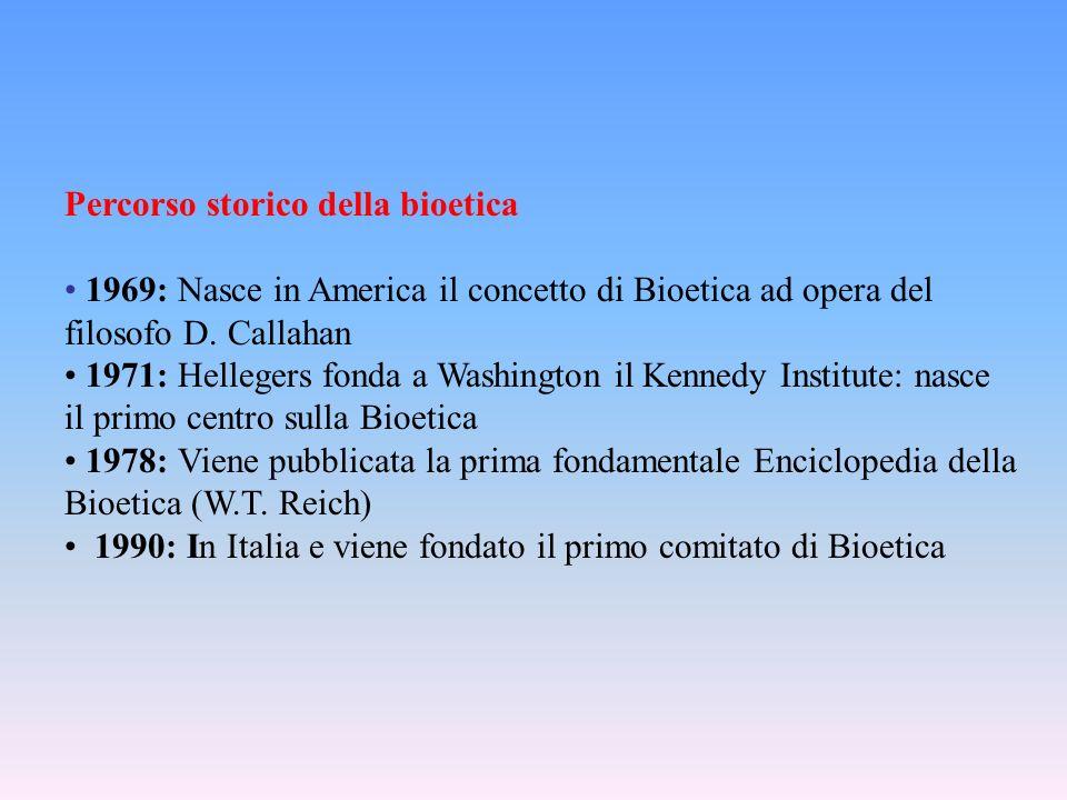 Percorso storico della bioetica 1969: Nasce in America il concetto di Bioetica ad opera del filosofo D.