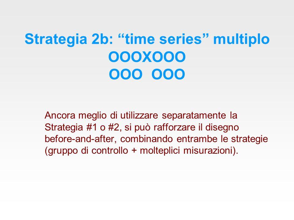 Strategia 2b: time series multiplo OOOXOOO OOO OOO Ancora meglio di utilizzare separatamente la Strategia #1 o #2, si può rafforzare il disegno before-and-after, combinando entrambe le strategie (gruppo di controllo + molteplici misurazioni).