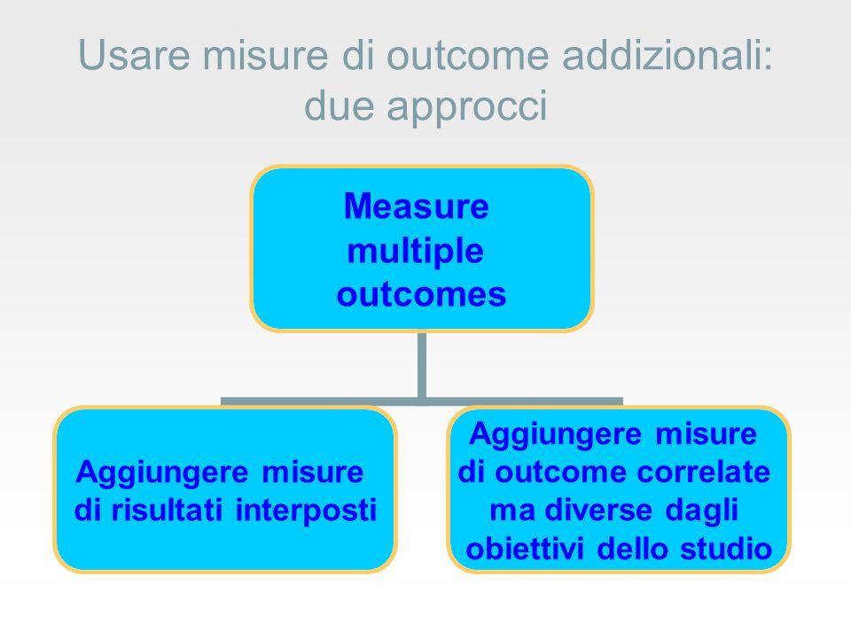 Usare misure di outcome addizionali: due approcci Measure multiple outcomes Aggiungere misure di risultati interposti Aggiungere misure di outcome correlate ma diverse dagli obiettivi dello studio