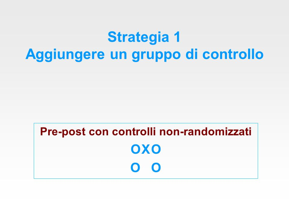 Pre-post con controlli non- randomizzati Come nel disegno sperimentale, vi è almeno un gruppo che riceve l intervento (gruppo di intervento) ed un gruppo che non lo riceve (gruppo di controllo).
