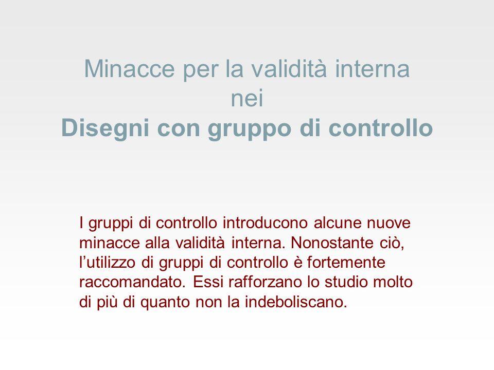 Minacce per la validità interna nei Disegni con gruppo di controllo I gruppi di controllo introducono alcune nuove minacce alla validità interna.