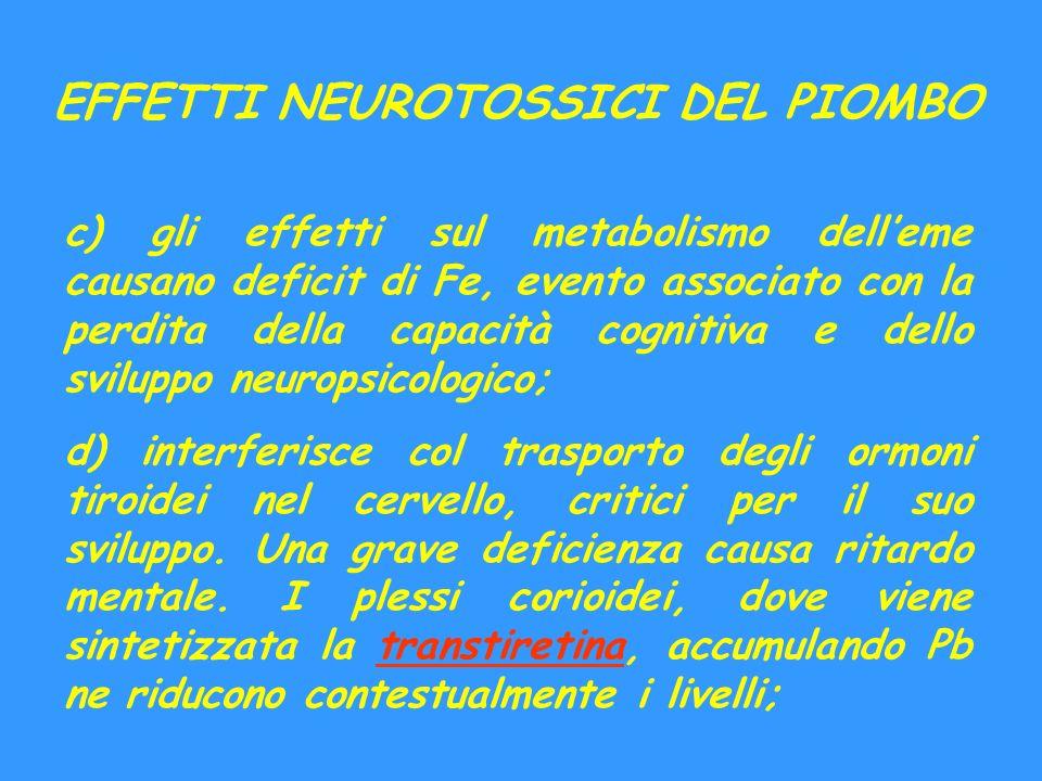 EFFETTI NEUROTOSSICI DEL PIOMBO c) gli effetti sul metabolismo delleme causano deficit di Fe, evento associato con la perdita della capacità cognitiva