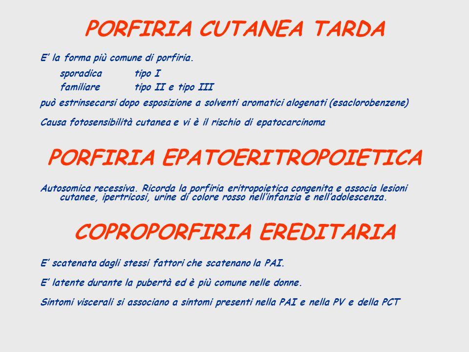 PORFIRIA CUTANEA TARDA E la forma più comune di porfiria. sporadicatipo I familiaretipo II e tipo III può estrinsecarsi dopo esposizione a solventi ar