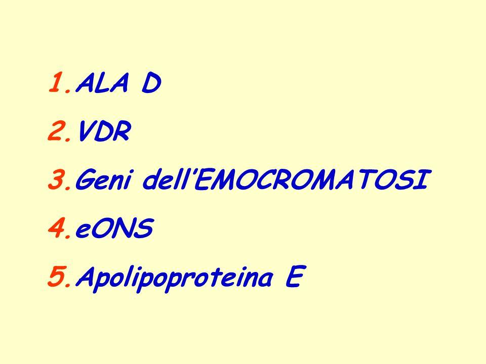 1.ALA D 2.VDR 3.Geni dellEMOCROMATOSI 4.eONS 5.Apolipoproteina E