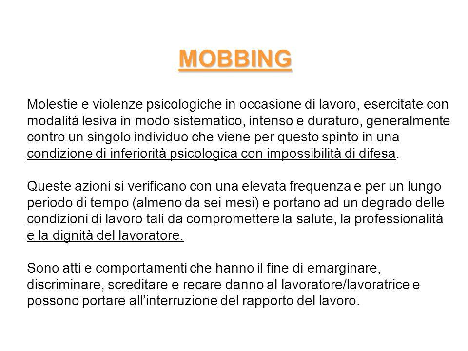 MOBBING Il mobbizzato si trova nellimpossibilità di reagire adeguatamente agli attacchi e a lungo andare accusa disturbi psicosomatici e relazionali che possono portare anche a invalidità psicofisica permanente.