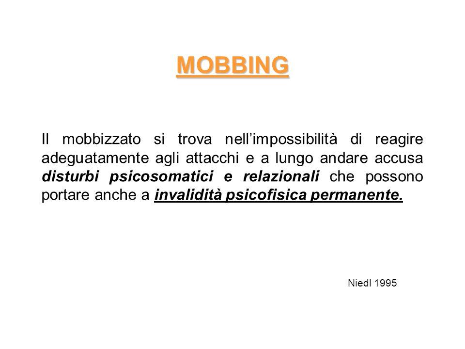 MOBBING Il mobbizzato si trova nellimpossibilità di reagire adeguatamente agli attacchi e a lungo andare accusa disturbi psicosomatici e relazionali c