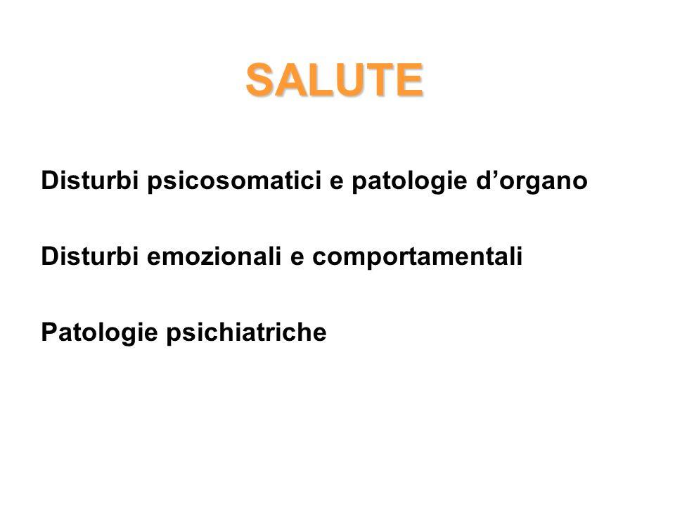 SALUTE Disturbi psicosomatici e patologie dorgano Disturbi emozionali e comportamentali Patologie psichiatriche