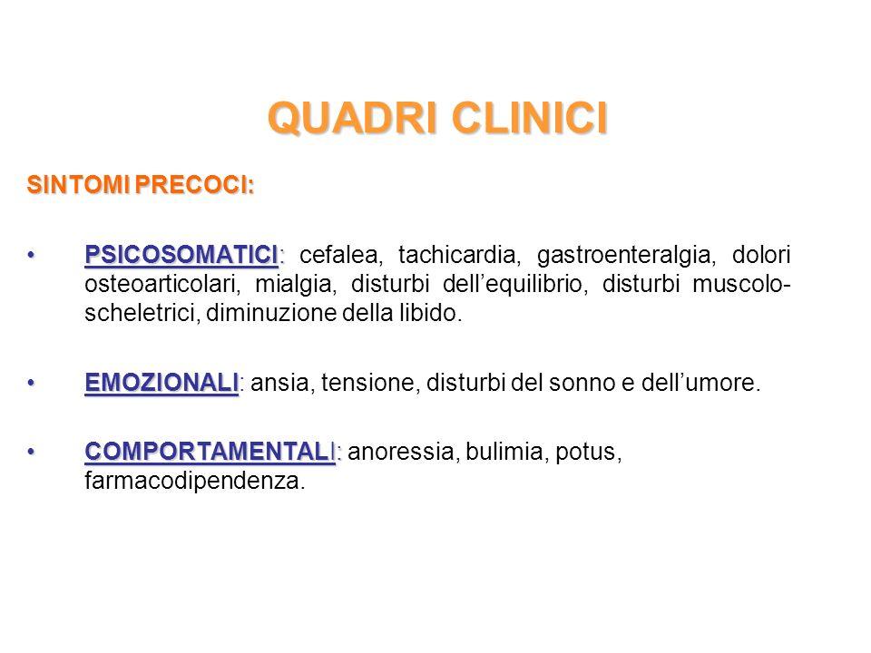 QUADRI CLINICI SINTOMI PRECOCI: PSICOSOMATICI:PSICOSOMATICI: cefalea, tachicardia, gastroenteralgia, dolori osteoarticolari, mialgia, disturbi dellequ