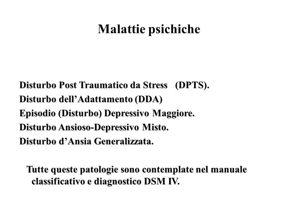 Malattie psichiche Disturbo Post Traumatico da Stress (DPTS). Disturbo Post Traumatico da Stress (DPTS). Disturbo dellAdattamento (DDA) Disturbo dellA