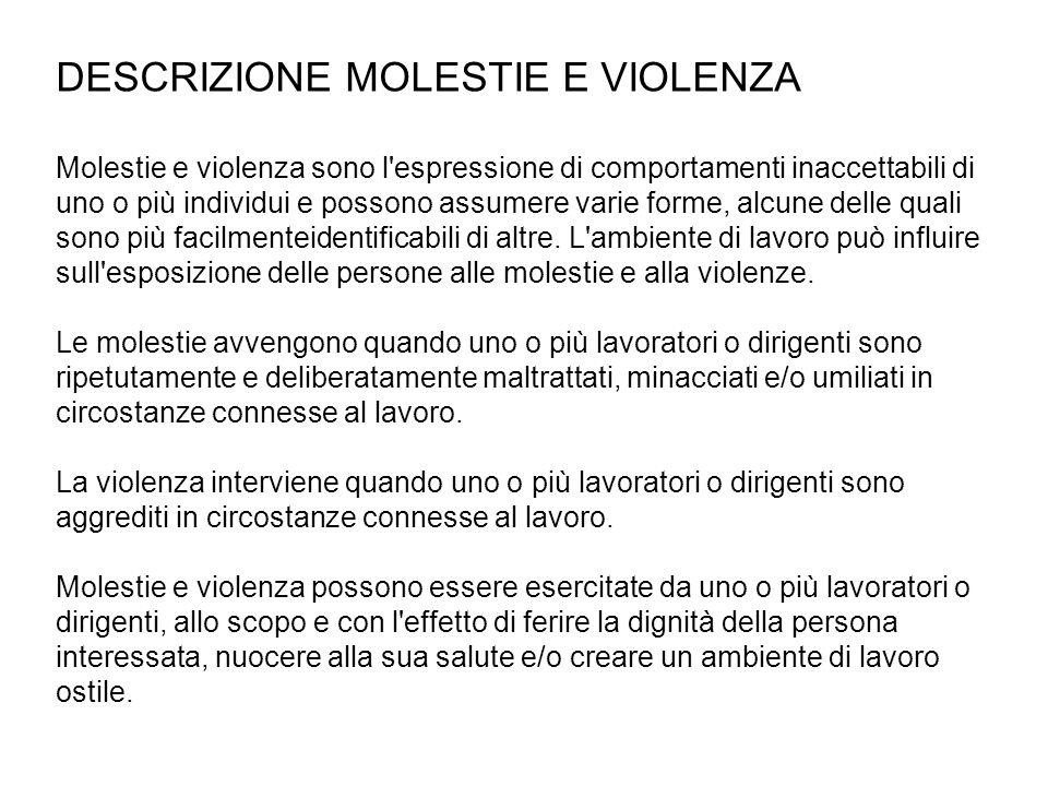 DESCRIZIONE MOLESTIE E VIOLENZA Molestie e violenza sono l'espressione di comportamenti inaccettabili di uno o più individui e possono assumere varie
