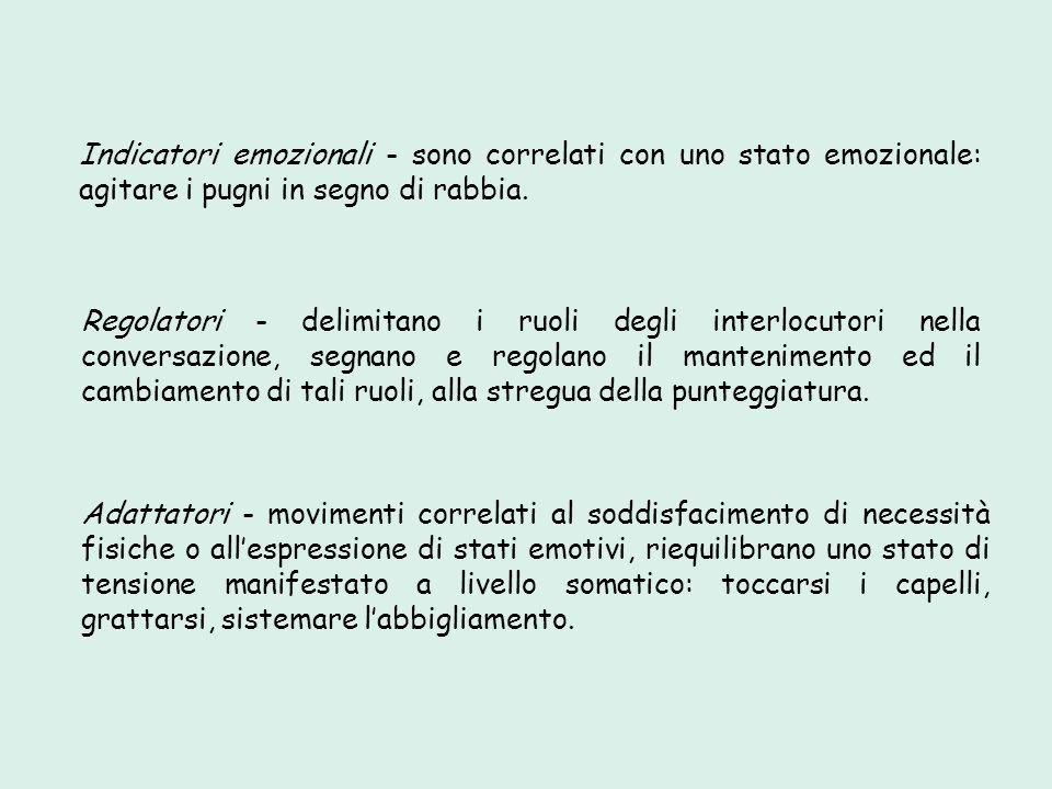 Indicatori emozionali - sono correlati con uno stato emozionale: agitare i pugni in segno di rabbia. Regolatori - delimitano i ruoli degli interlocuto