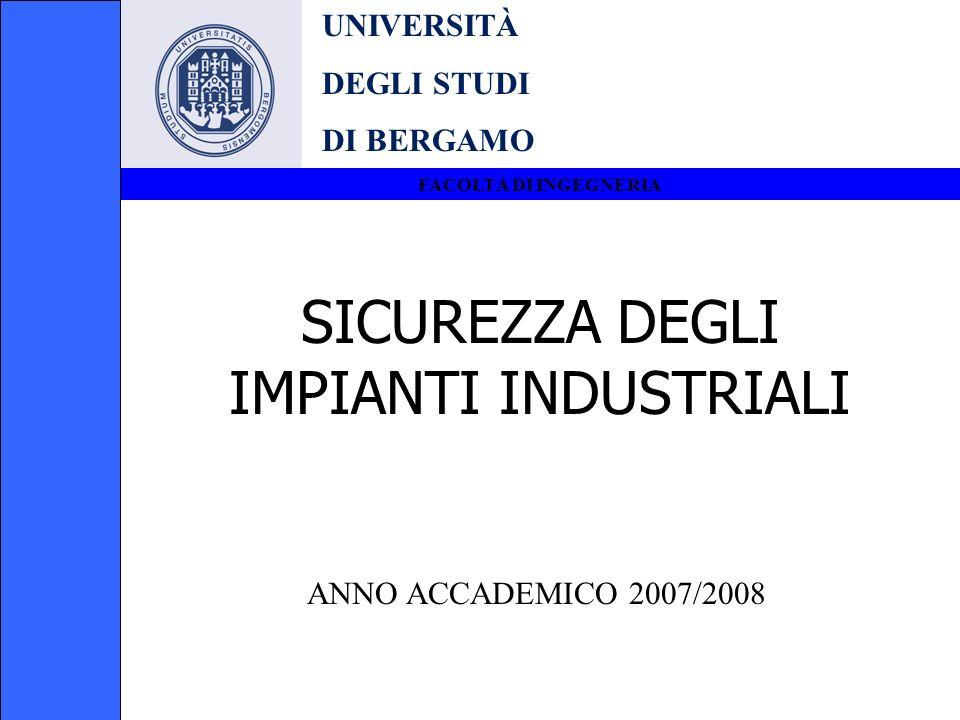UNIVERSITÀ DEGLI STUDI DI BERGAMO FACOLTÀ DI INGEGNERIA SICUREZZA DEGLI IMPIANTI INDUSTRIALI ANNO ACCADEMICO 2007/2008