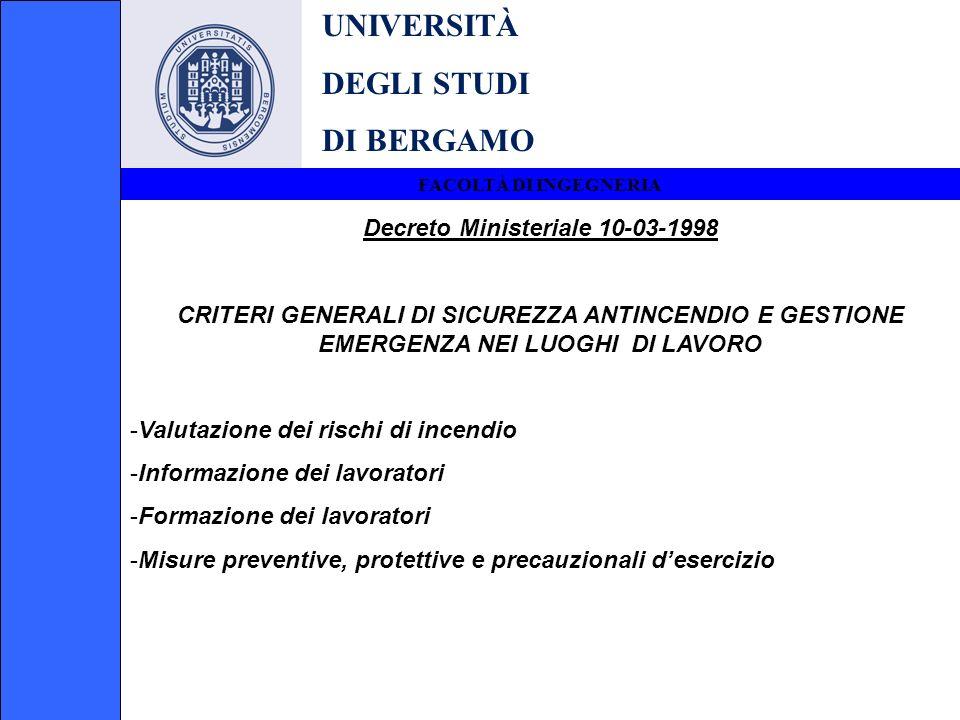 UNIVERSITÀ DEGLI STUDI DI BERGAMO FACOLTÀ DI INGEGNERIA Decreto Ministeriale 10-03-1998 CRITERI GENERALI DI SICUREZZA ANTINCENDIO E GESTIONE EMERGENZA