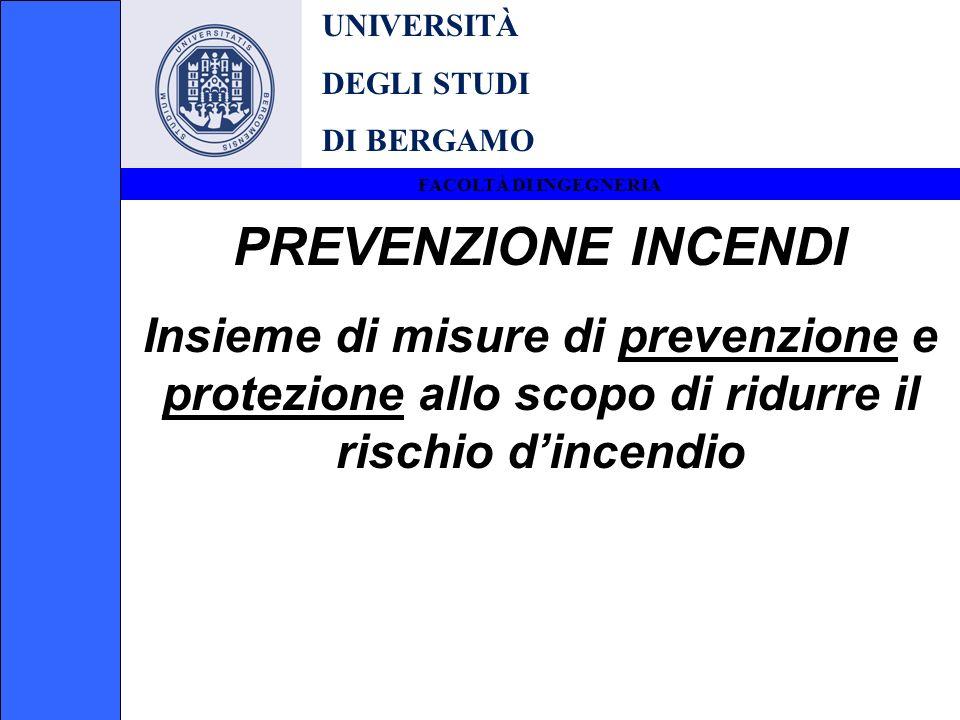UNIVERSITÀ DEGLI STUDI DI BERGAMO FACOLTÀ DI INGEGNERIA PREVENZIONE INCENDI Insieme di misure di prevenzione e protezione allo scopo di ridurre il ris
