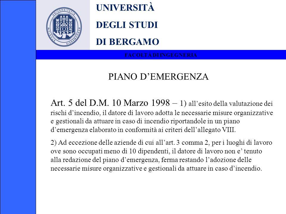 UNIVERSITÀ DEGLI STUDI DI BERGAMO FACOLTÀ DI INGEGNERIA PIANO DEMERGENZA Art. 5 del D.M. 10 Marzo 1998 – 1) allesito della valutazione dei rischi dinc
