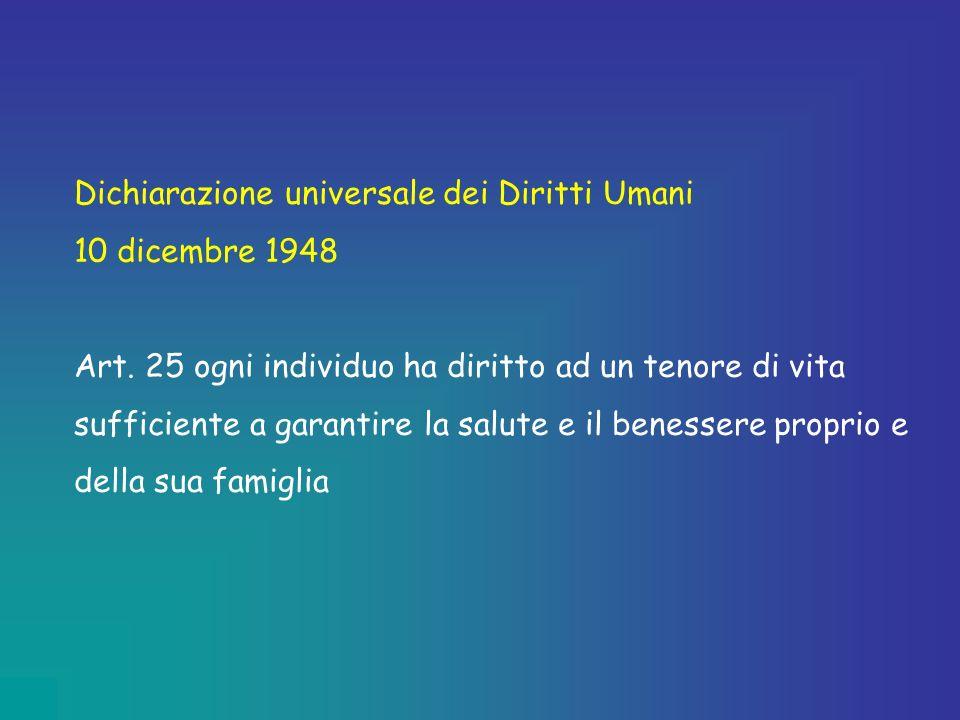 Dichiarazione universale dei Diritti Umani 10 dicembre 1948 Art. 25 ogni individuo ha diritto ad un tenore di vita sufficiente a garantire la salute e