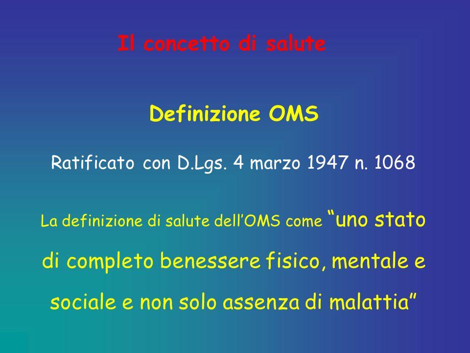 Il concetto di salute Definizione OMS Ratificato con D.Lgs. 4 marzo 1947 n. 1068 La definizione di salute dellOMS come uno stato di completo benessere