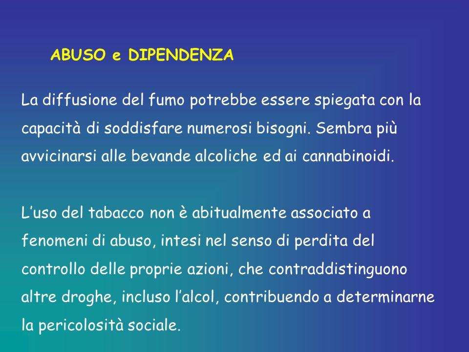 ABUSO e DIPENDENZA La diffusione del fumo potrebbe essere spiegata con la capacità di soddisfare numerosi bisogni. Sembra più avvicinarsi alle bevande