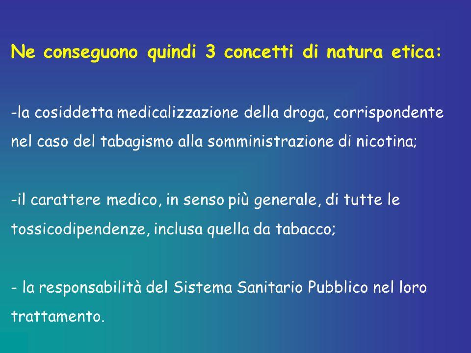 Ne conseguono quindi 3 concetti di natura etica: -la cosiddetta medicalizzazione della droga, corrispondente nel caso del tabagismo alla somministrazi
